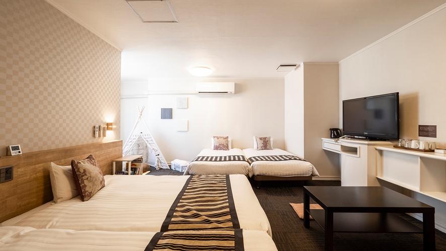 【特別キッズルーム】■49平米■ベッド140cm幅1台・110cm幅3台