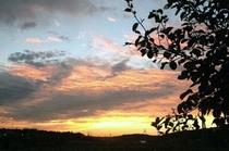 深紅に染まる夕焼け