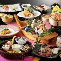 【2019年春グレードアップメニュー】 前菜・お造り五種舟盛り・寄せ鍋・たらば蟹と牛フィレ肉の奉書焼
