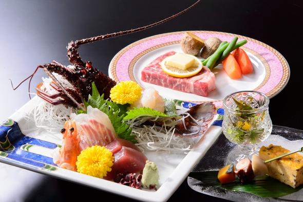 限定4組!土曜日が平日料金で!〜伊勢海老・松阪牛ステーキの贅沢コース〜鯛の宝楽焼き付き