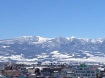 屋上からの風景。喜多方市内が一望できます。