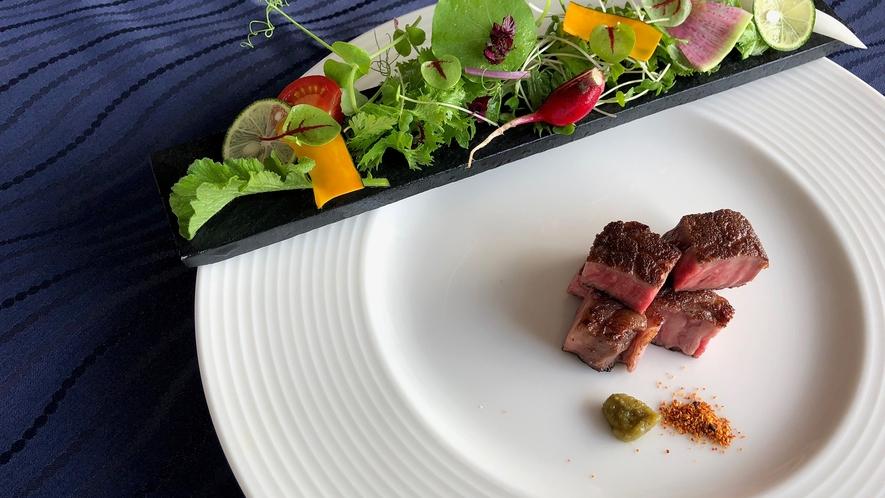 *【夕食一例】ヴィアンド:旬の食材を使用した、お箸で食べるフレンチ!