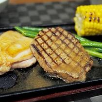 夕食の一例 ある日の晩御飯プラスオプション(別料金)白老牛ステーキ★