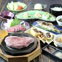 阿蘇特産あか牛の石焼きステーキ御膳 (馬刺し&ヤマメ付)