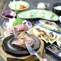 阿蘇特産あか牛の石焼きステーキ御膳(馬刺し&ヤマメ付)