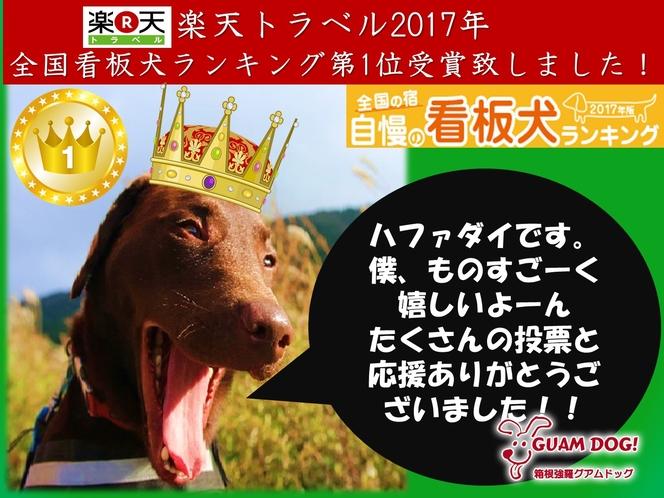 楽天トラベル 2017年全国看板犬ランキング1位受賞致しました。