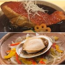 金目鯛の煮付けとアワビの陶板焼