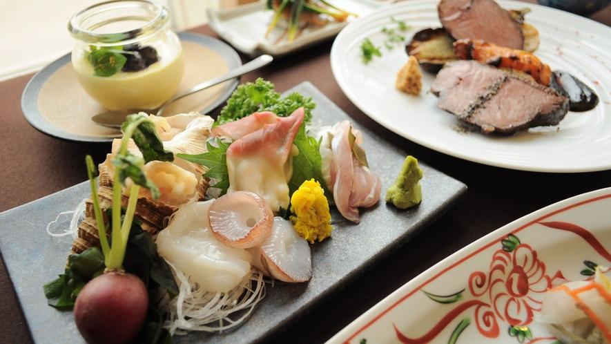 【特選夕食の一例】地元食材中心の創作料理