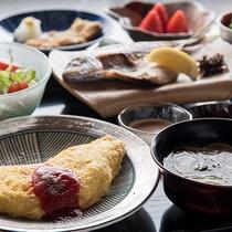 *【ご朝食・洋風】海外からのお客様のリクエストにあわせてオムレツがメインの洋風朝食もご用意できます。