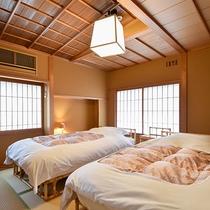 *【ベッドスイート・山茶花】ベッドルーム・英国王室御用達スランバーランド社製ツインベッドをご用意