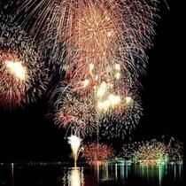 ■湖面に映える花火<納涼花火>