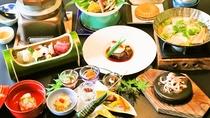 紫尾庵流創作懐石料理一例:薩摩の郷土料理や地元の素材をふんだんに使った 四季折々のお料理です。