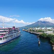 桜島行フェリー乗り場:当館より車で1時間25分。乗船中の桜島は圧巻!隣にはかごしま水族館もあります。