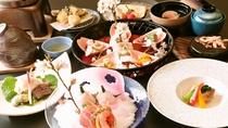 紫尾庵流創作懐石料理一例:季節を彩る旬の食材を用い、紫尾庵流のお料理をご提供致します。