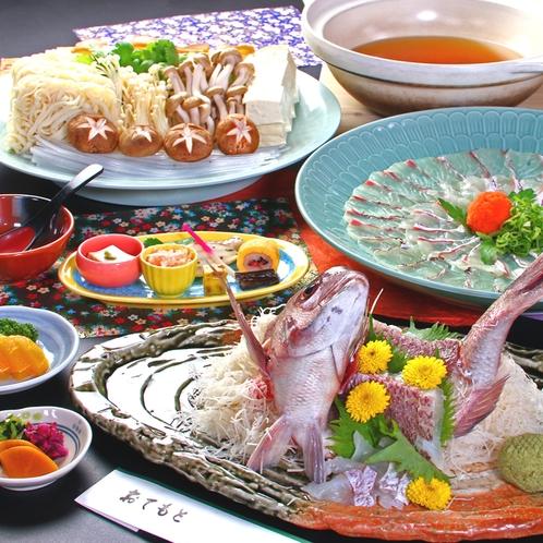お刺身としゃぶしゃぶで楽しむ鯛しゃぶ鍋。