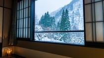 【限定1室・特別室「竜胆(りんどう)」】冬の凛とした雪景色は非日常の世界を感じられます