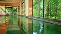 【秘湯めぐり・中屋不動閣】名物・オリンピック風呂。男女合わせて33mという長さを持つ景色自慢のお風呂