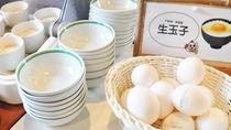【朝食】定番の生卵や温泉卵もございます