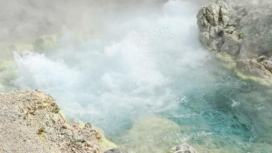 【自然研究路】源泉大噴 1分間に約9千リットルも湧出し、一カ所での涌出量は日本一になります