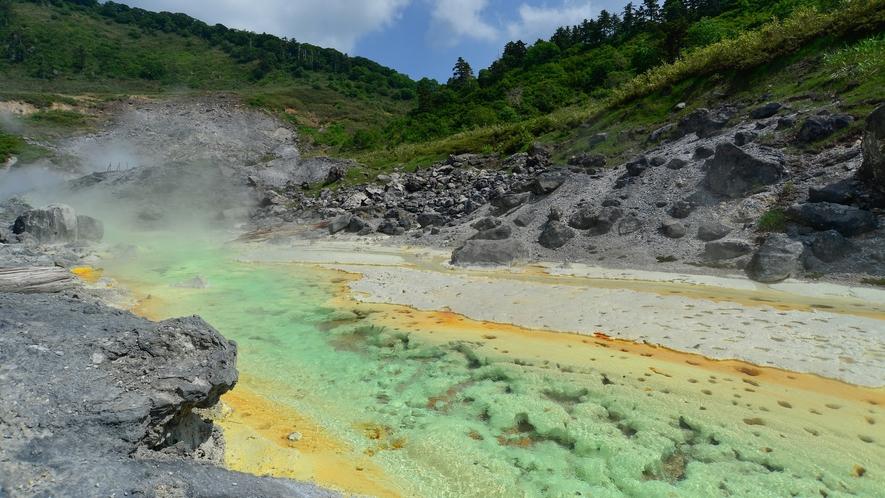 【自然研究路】源泉がお湯の川となって流れ、川底には湯の華が沈殿しています