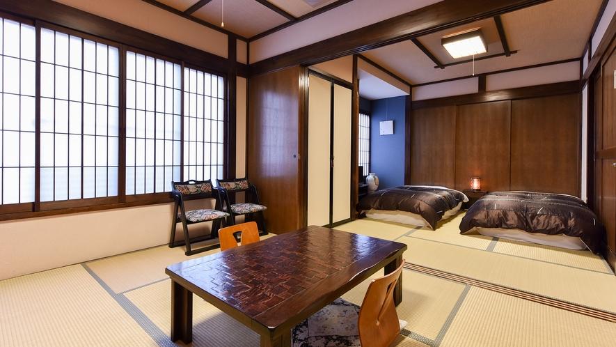 *和室6畳+6畳ベッドタイプ(ふじ)【2階】/二間使いのひろびろとしたお部屋