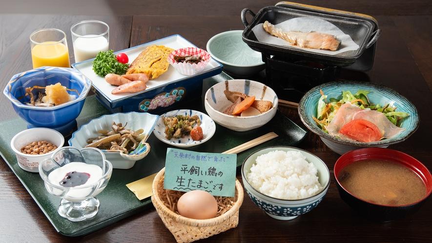 *朝食一例/地元の食材をたくさん使った、ごはんの進む健康的な朝食