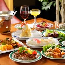◆種類豊富でステーキ、海鮮焼きなど実演コーナーも充実