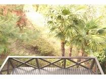 自然がいっぱいの庭のマイナスイオン効果で肌も心もリフレッシュ。