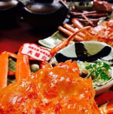 「おススメ!境港産活松葉ガニプラン」旬の海鮮会席と境港産活松葉ガニを1枚まるまる堪能!
