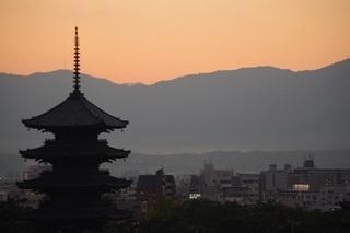 東寺(夕焼け)
