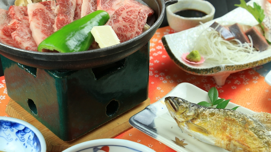 【グレードアップ】国産牛の陶板とアツアツの鮎で美味しさUP