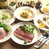オーナーママの創作ディナー一例。四季の素材を織り込んだお料理です。