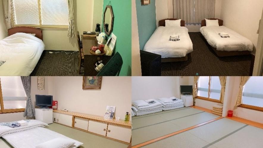 お部屋の写真をまとめた写真です。ホテル自体は小さめで少しコンパクトなお部屋です。