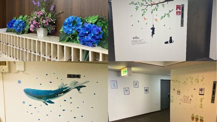 殺風景な廊下に明るいかわいい壁紙を用意しました。廊下も明るい雰囲気になりました。