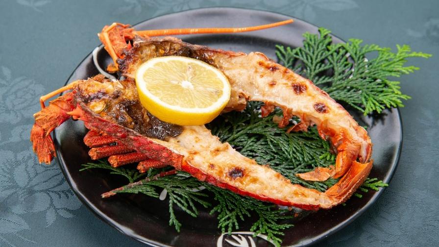 【伊勢エビ鬼殻焼付き】海鮮もお肉も♪スタンダード夕食に伊勢海老がつきます◆天然温泉貸切♪