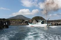 八重根漁港と八丈富士