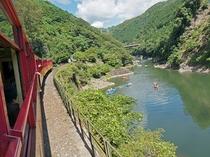 トロッコ列車から眺める保津川