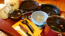 備え付けの調理器具はすべてご使用可能です【6人用コテージ】