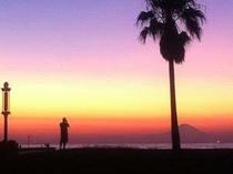 夕陽と富士山がきれいな北条海岸(徒歩1分)
