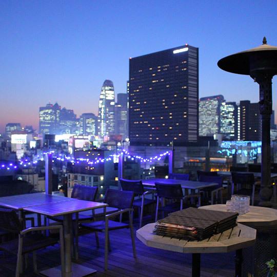 【13階ルーフトップバーテラスG】新宿の街を眺めながら、緑とお酒を楽しむことが出来ます。