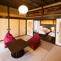 【欅101】襖絵や欄間、二間床など随所に伝統と格式が息づいています。