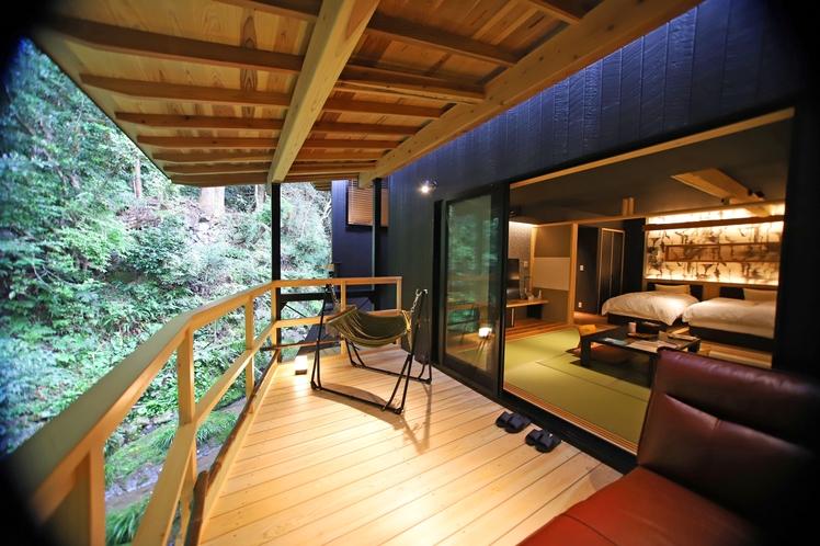 【◆響-ひびき-◆】半露天風呂&テラス付和洋室(46平米)※禁煙※