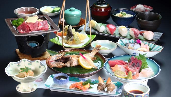 【寿司 3カン&姿焼き】富山湾の朝取れ 新鮮魚介類&季節のオススメ料理♪ちょっぴり贅沢に。特選会席
