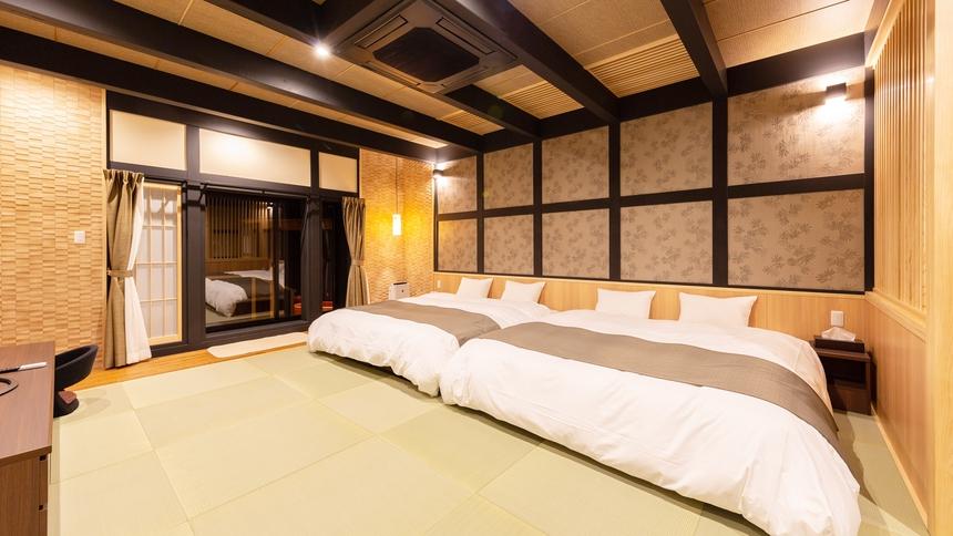 *【特別室(桔梗)】キングベッド2組。広々優雅にお寛ぎいただけます。