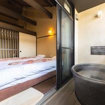 【和室8畳一例】温泉をひいている露天風呂付き客室です。