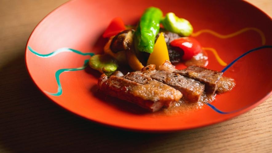 【お食事】愛媛のブランド牛「伊予牛~絹の味~」をヒレステーキで(例)