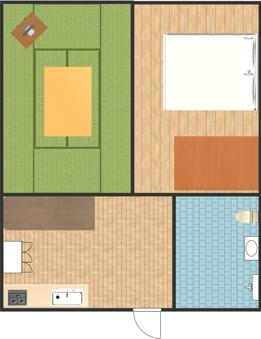B 和洋室・ダブルベッド(2LDK)キッチン付き