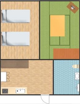 B 和洋室・ツインベッド(2LDK)キッチン付き
