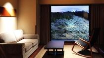 スーペリアツインルーム/彦根城を望む自慢の眺望。リビングにツインベッドを配しております。