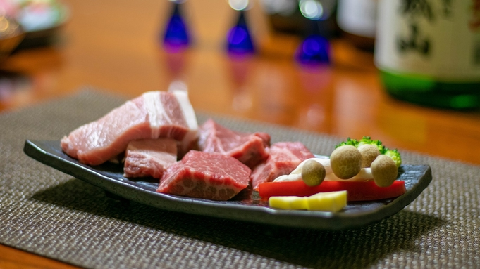 【グルメな一人旅】ご当地肉!上州牛・上州麦豚どっちもどうぞ♪贅沢なお肉合盛り&利き酒セット付プラン